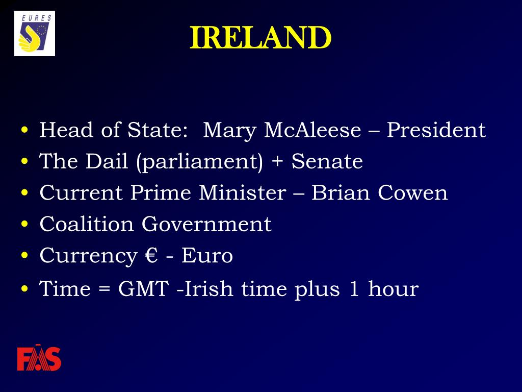 Head of State:  Mary McAleese – President