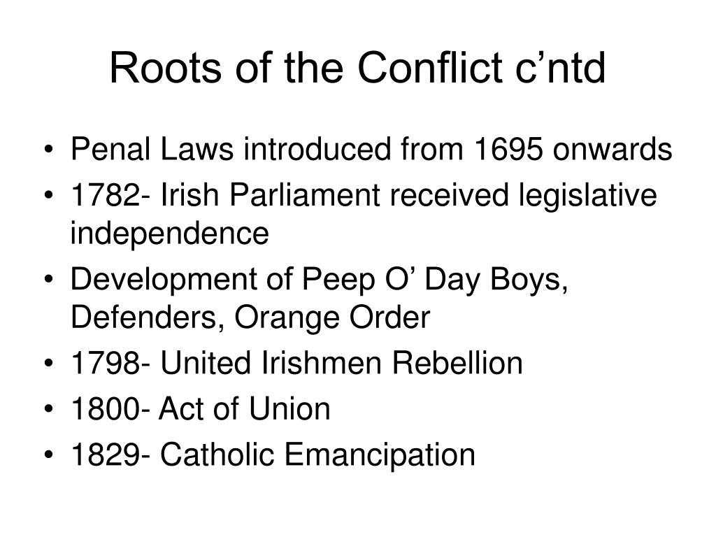 Roots of the Conflict c'ntd
