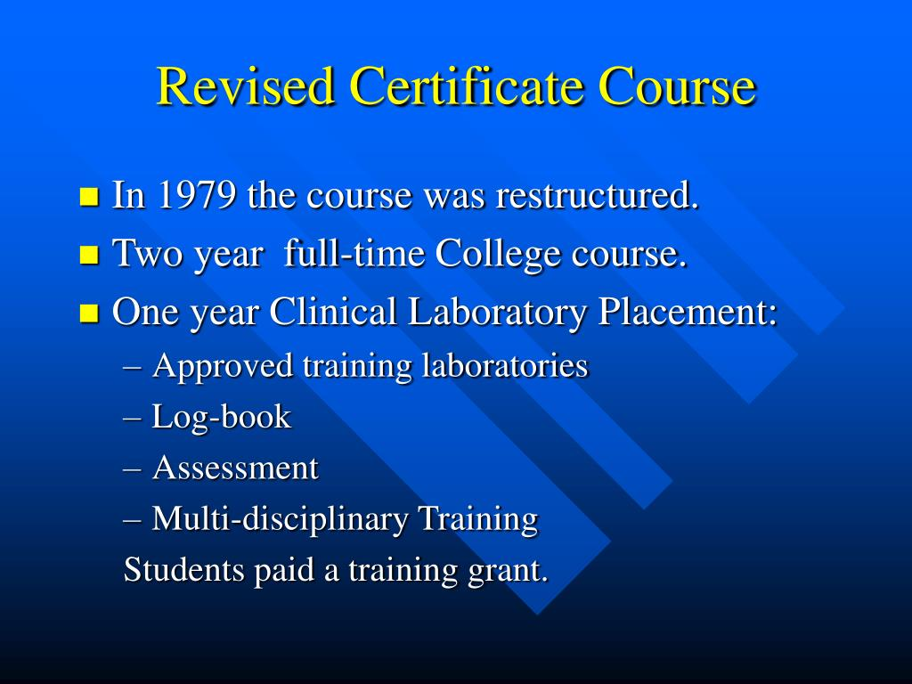 Revised Certificate Course