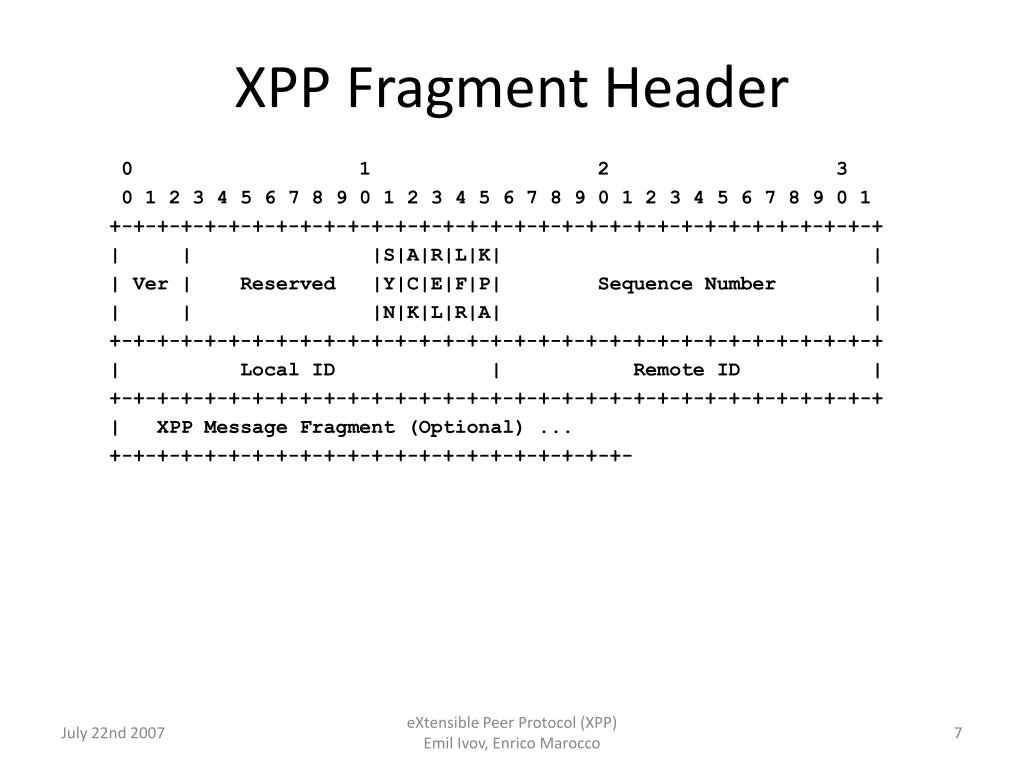 XPP Fragment Header