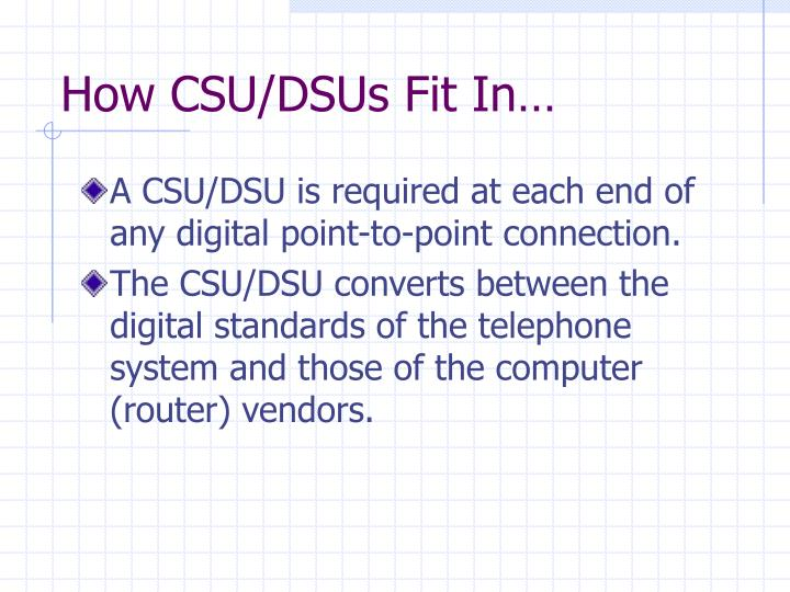 How CSU/DSUs Fit In…