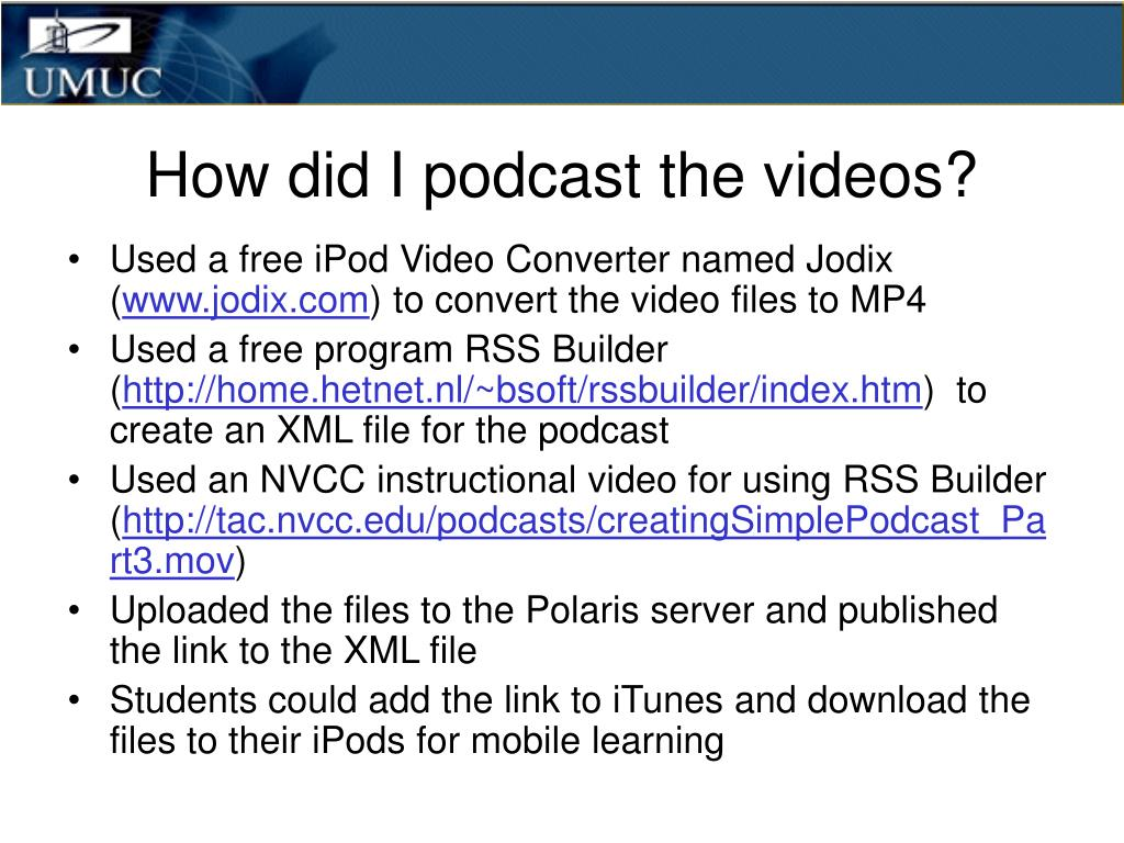 How did I podcast the videos?
