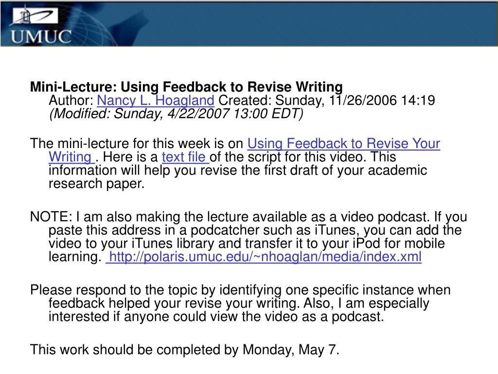 Mini-Lecture: Using Feedback to Revise Writing