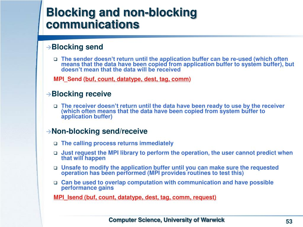 Blocking and non-blocking communications