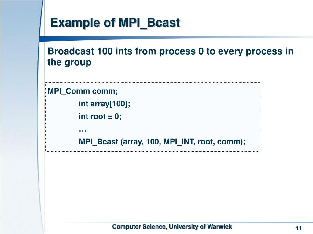 Example of MPI_Bcast