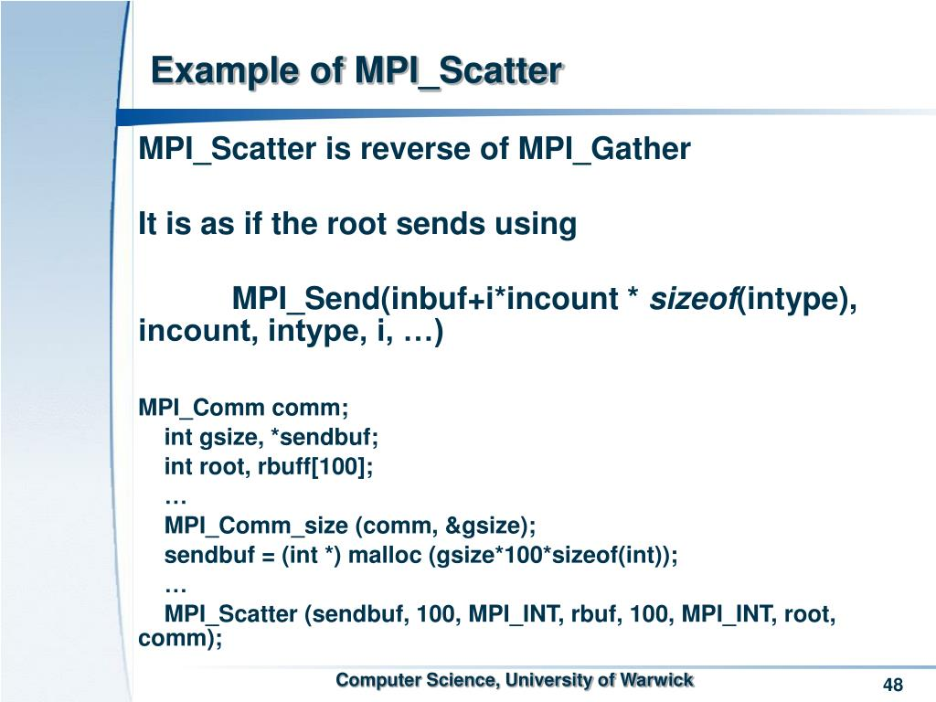 Example of MPI_Scatter