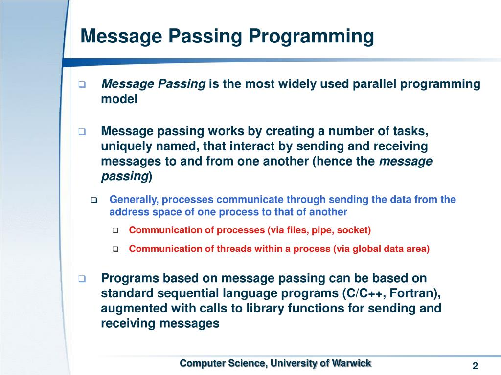 Message Passing Programming