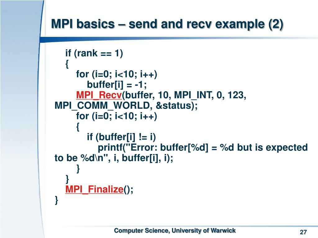 MPI basics – send and recv example (2)