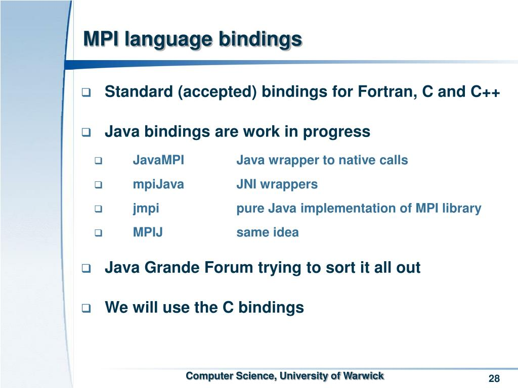 MPI language bindings