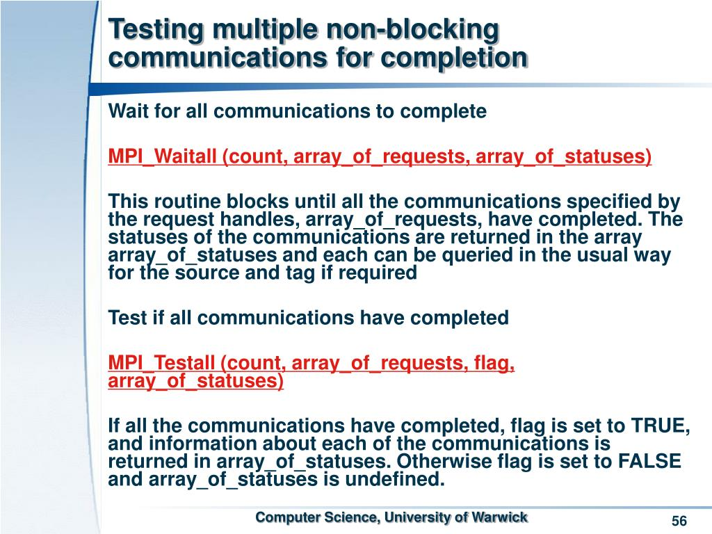 Testing multiple non-blocking communications for completion