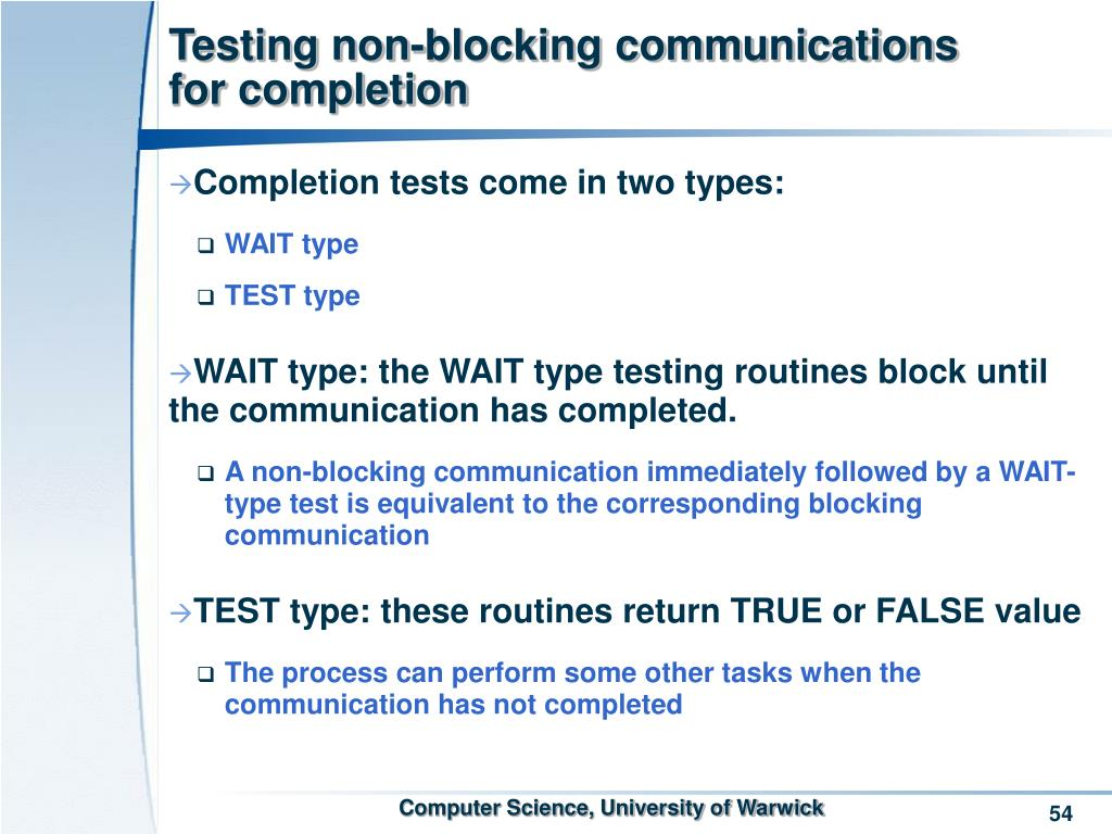 Testing non-blocking communications for completion