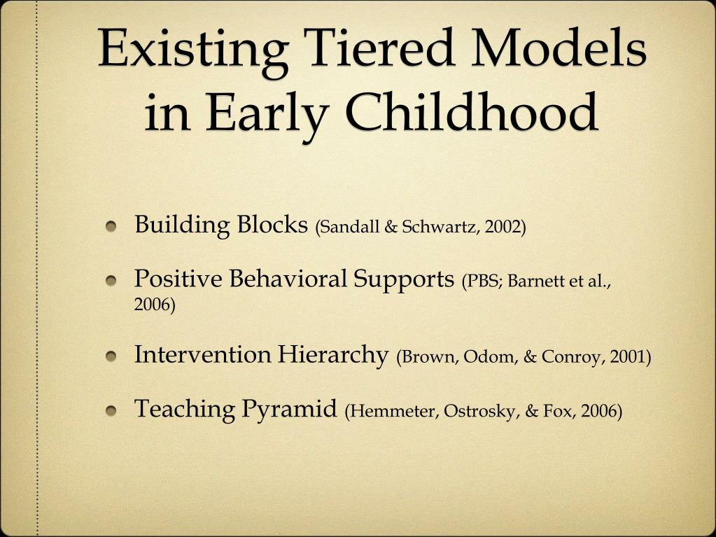 Existing Tiered Models in Early Childhood