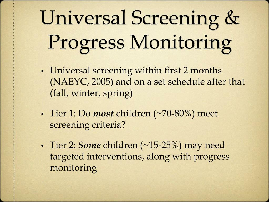 Universal Screening & Progress Monitoring