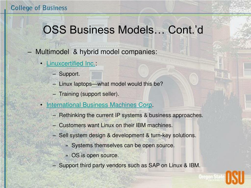 OSS Business Models… Cont.'d