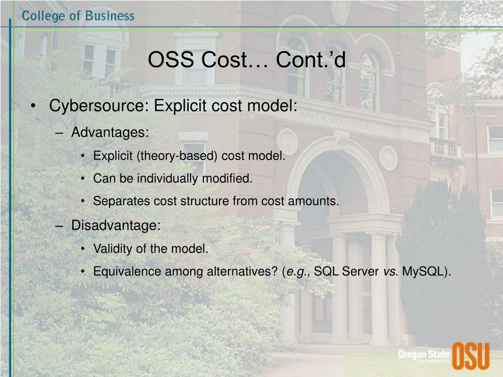 OSS Cost… Cont.'d