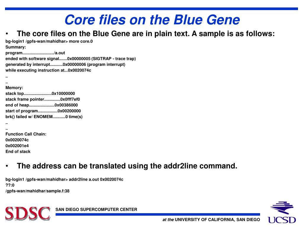 Core files on the Blue Gene