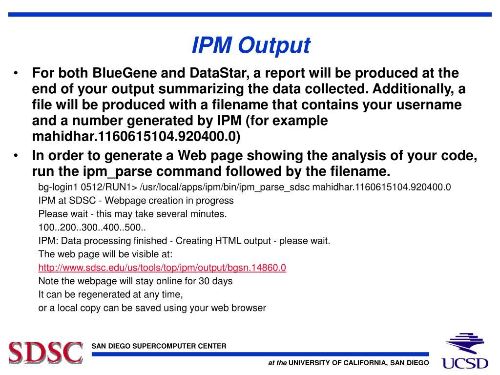 IPM Output