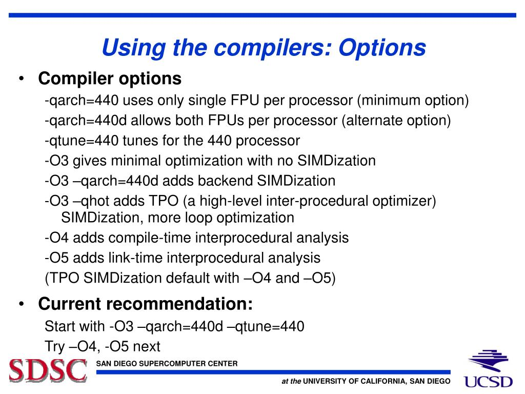 Using the compilers: Options