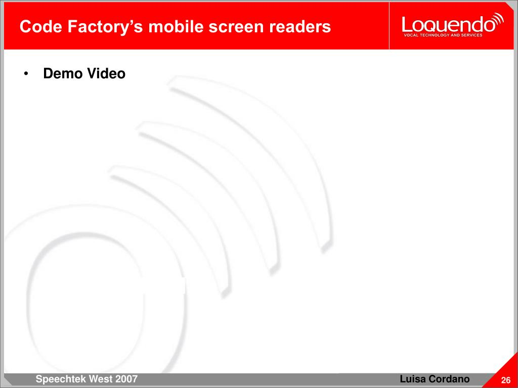 Code Factory's mobile screen readers