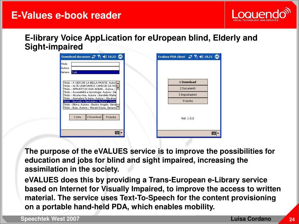 E-Values e-book reader