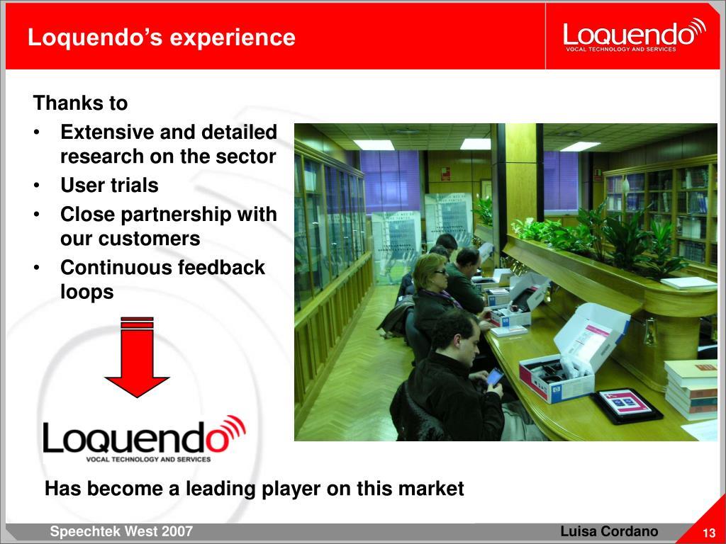 Loquendo's experience
