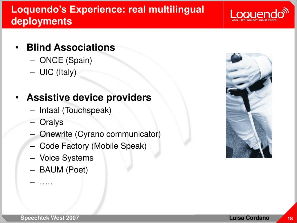 Loquendo's Experience: real multilingual deployments
