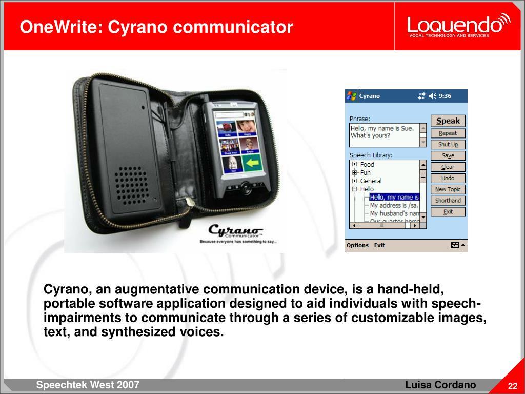 OneWrite: Cyrano communicator