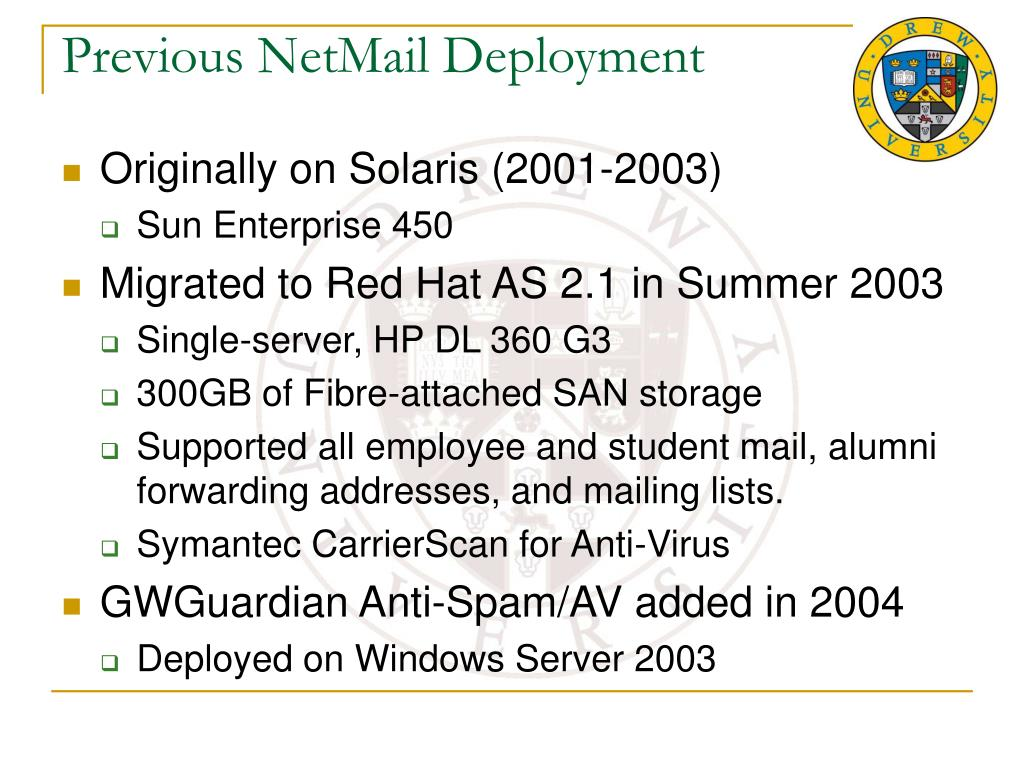 Previous NetMail Deployment