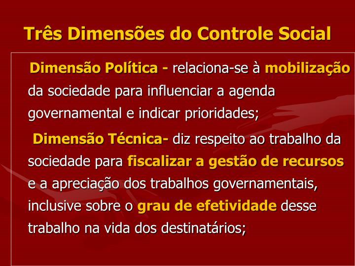 Três Dimensões do Controle Social