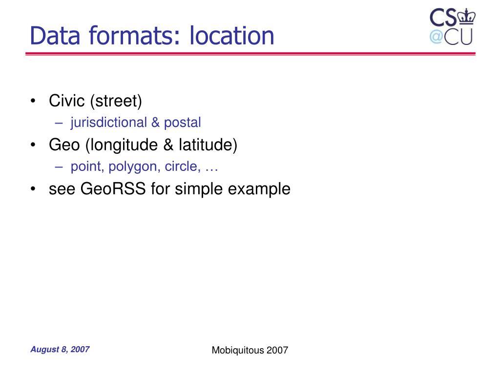 Data formats: location