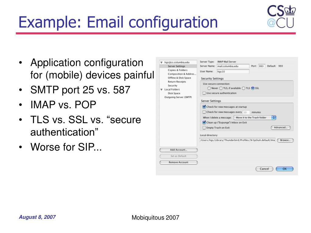 Example: Email configuration
