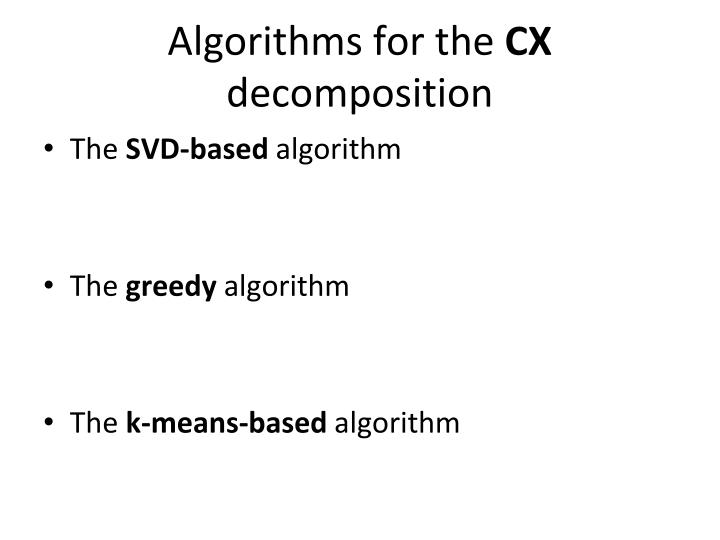 Algorithms for the