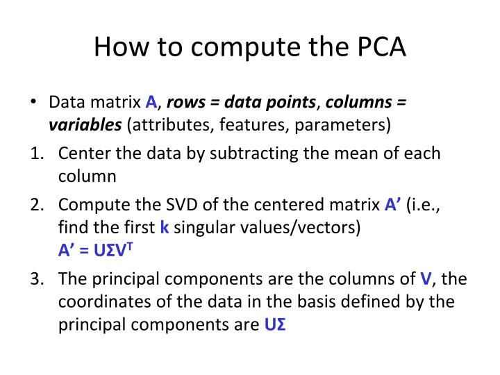 How to compute the PCA