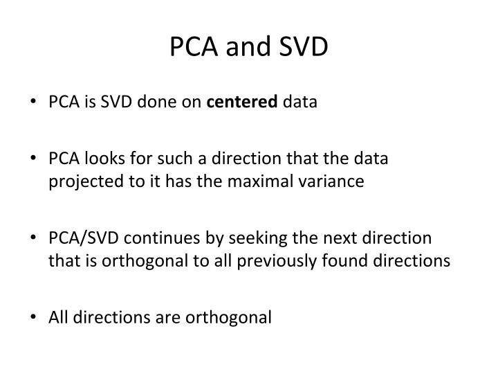 PCA and SVD
