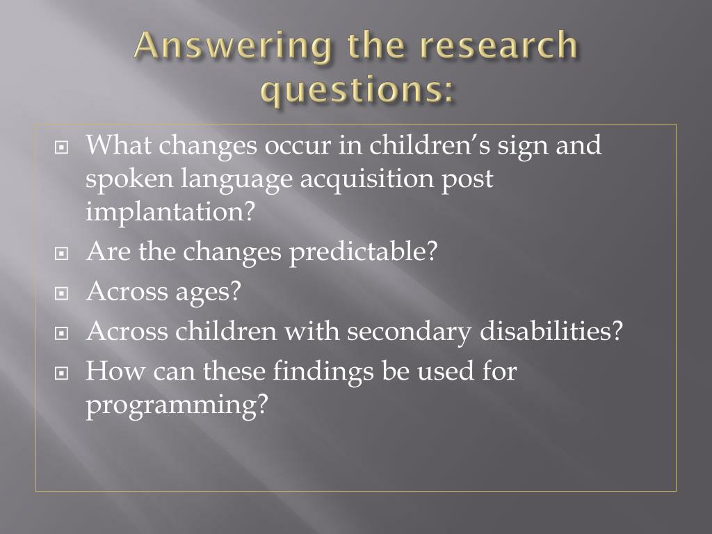 Answering the research questions:
