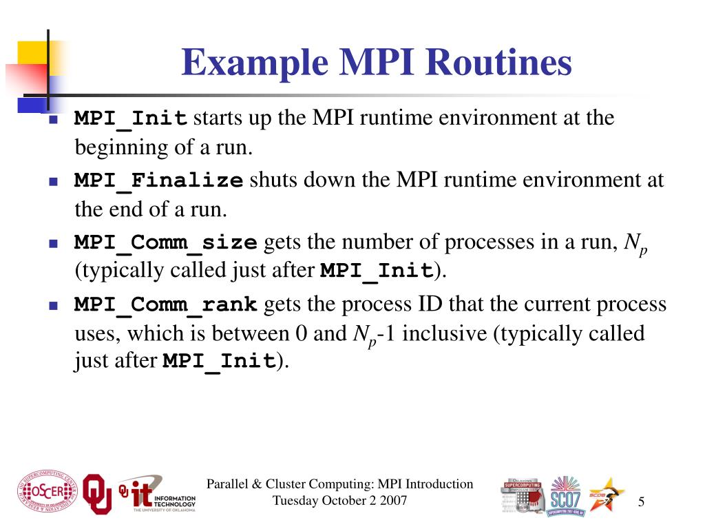 Example MPI Routines