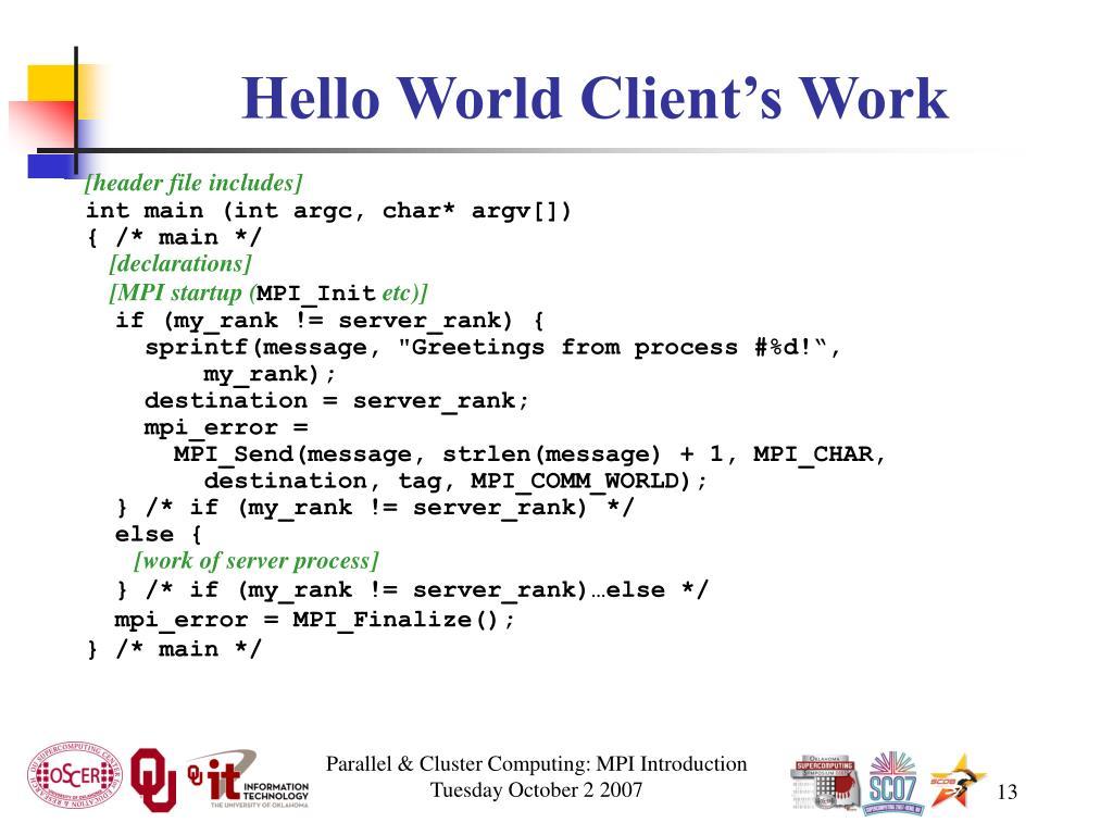Hello World Client's Work