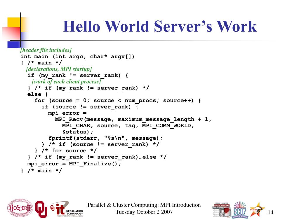 Hello World Server's Work