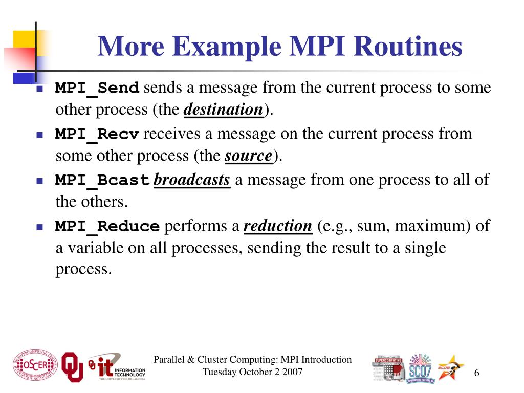 More Example MPI Routines