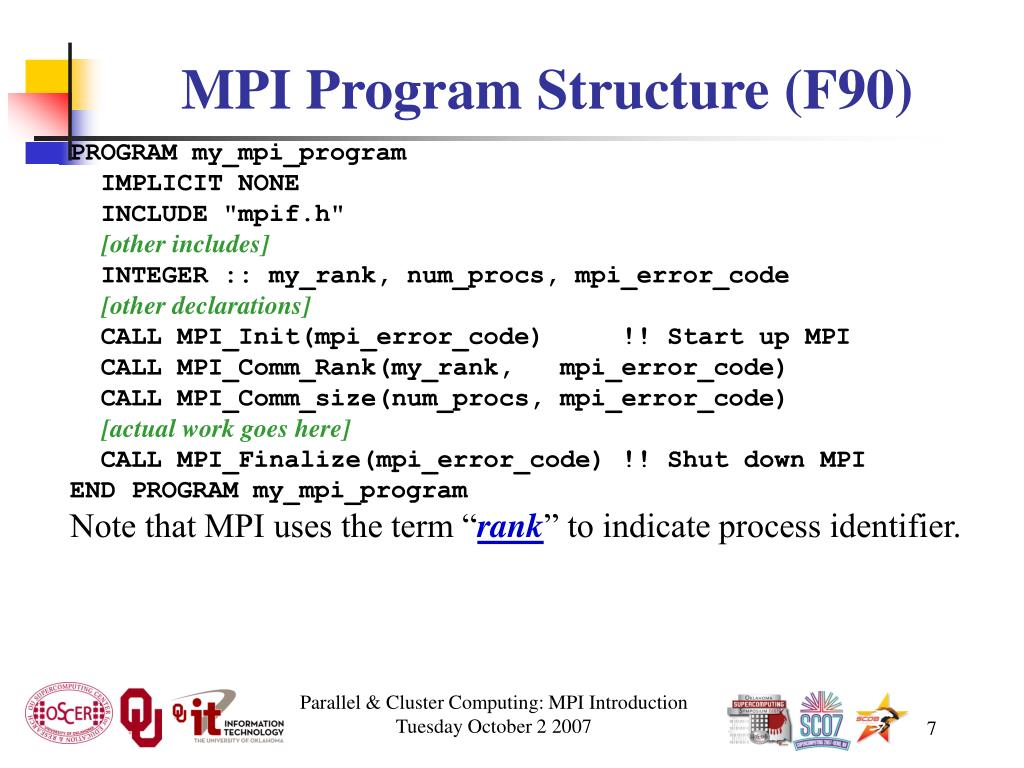 MPI Program Structure (F90)