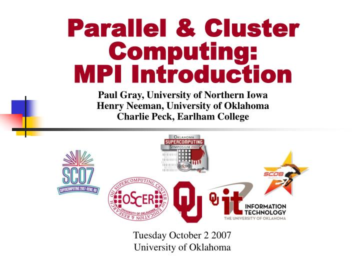 Parallel cluster computing mpi introduction