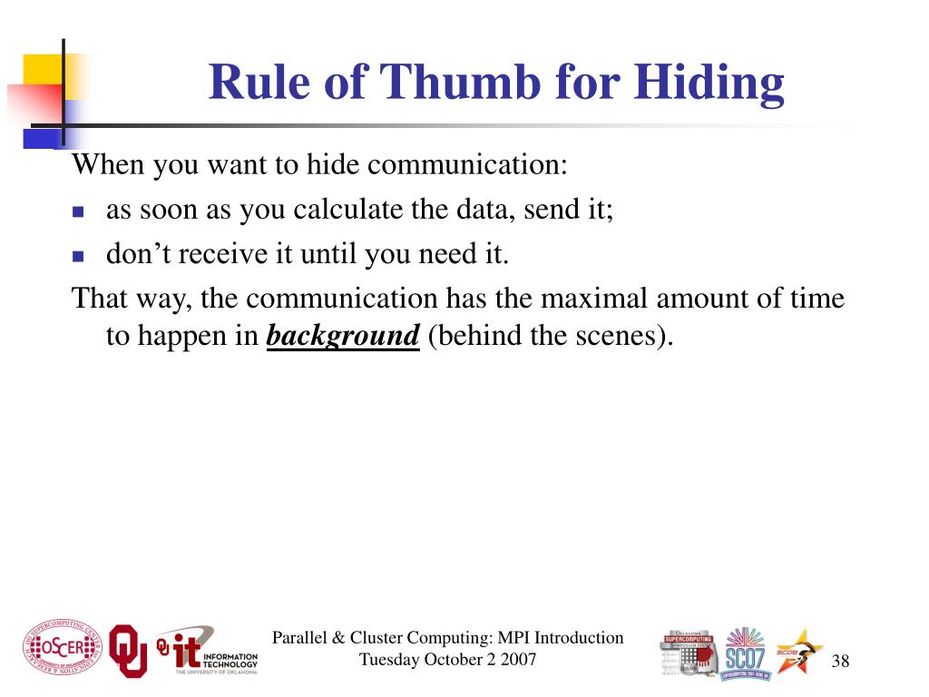 Rule of Thumb for Hiding