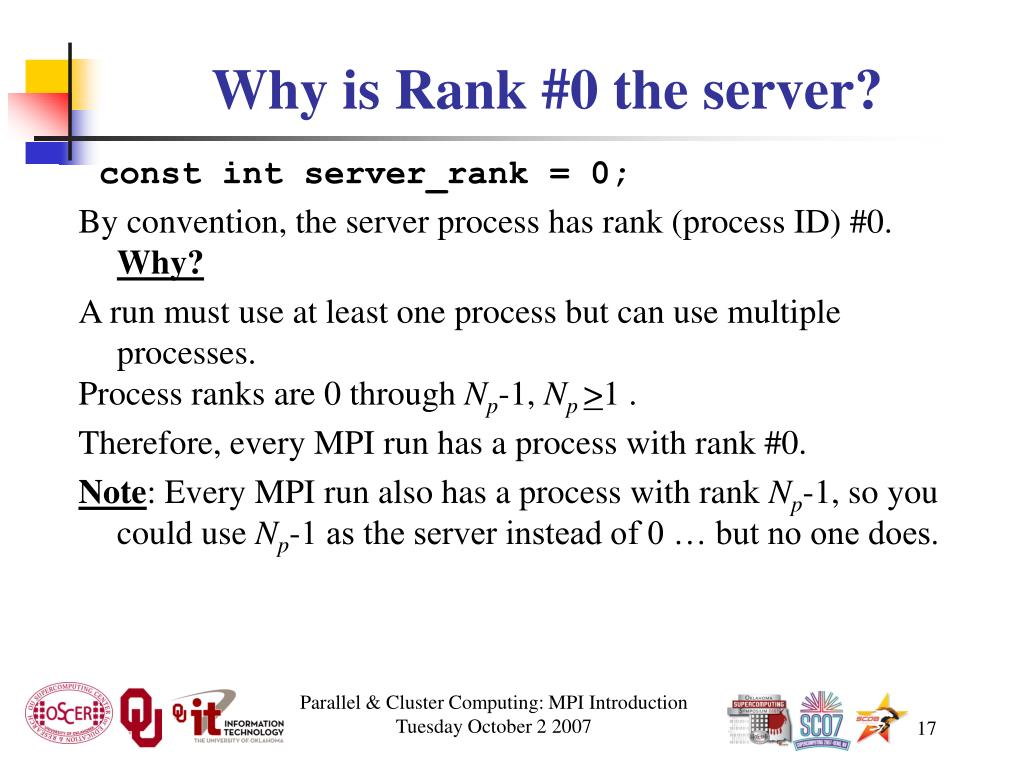 Why is Rank #0 the server?