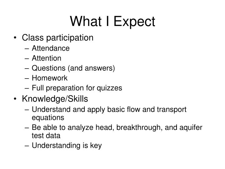 What I Expect