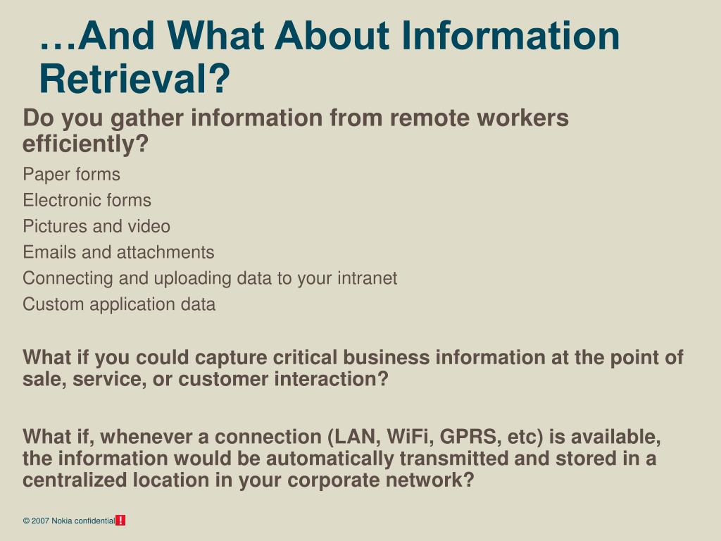 …And What About Information Retrieval?