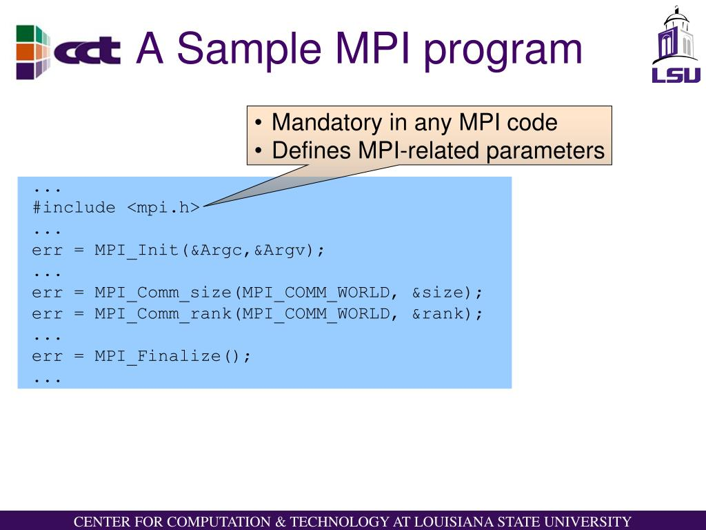 A Sample MPI program