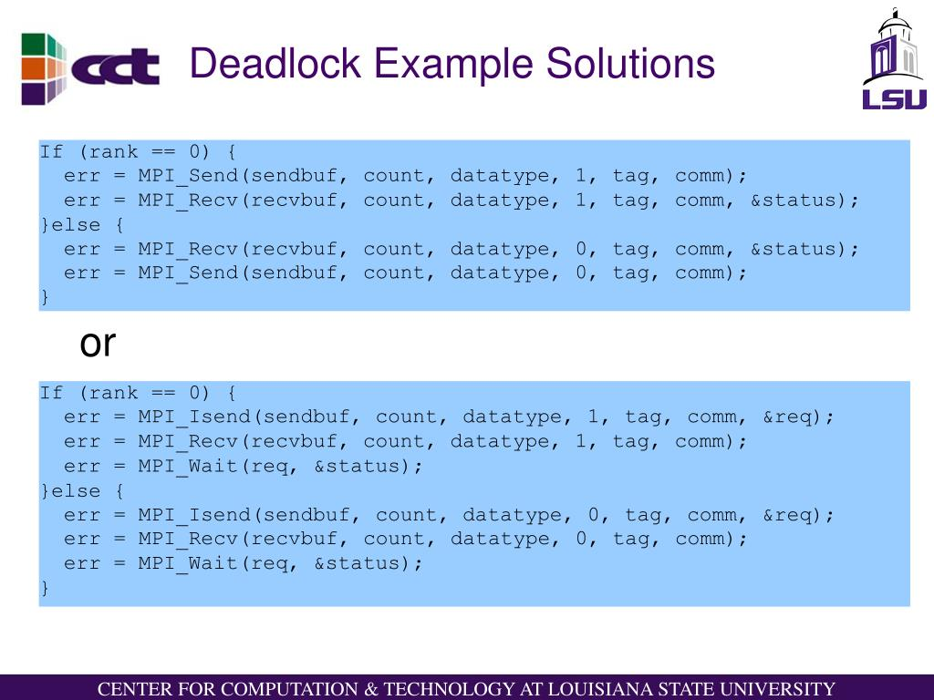Deadlock Example Solutions