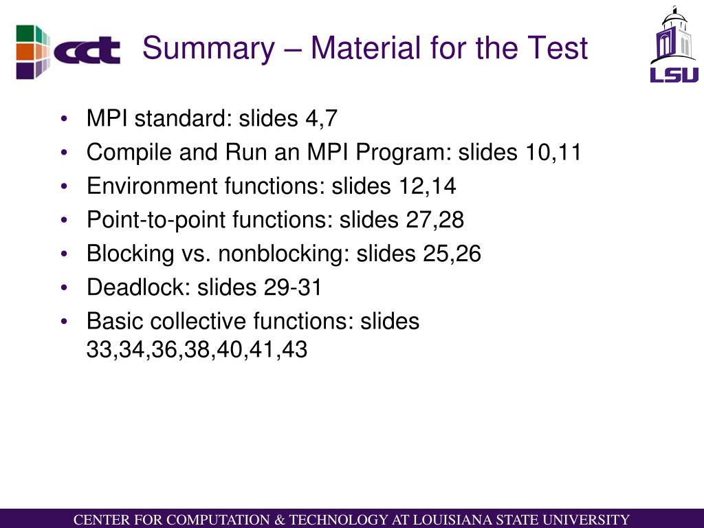 Summary – Material for the Test