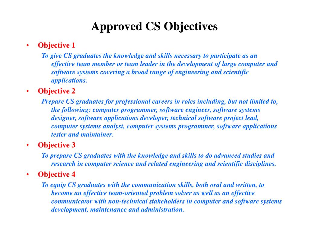 Approved CS Objectives