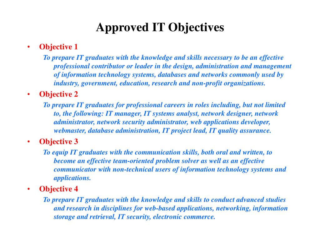 Approved IT Objectives